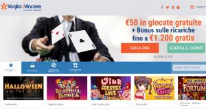 Voglia di vincere casino: 50€ di bonus senza deposito